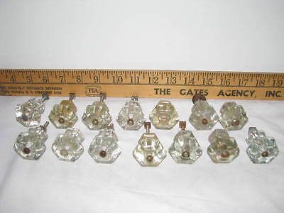 Lot of 14  Antique Glass Drawer Pulls Cabinet Handles Knobs w/ some fasteners