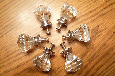 """Set of 6 clear """"glass"""" drawer cabinet knobs, 1"""" dia"""