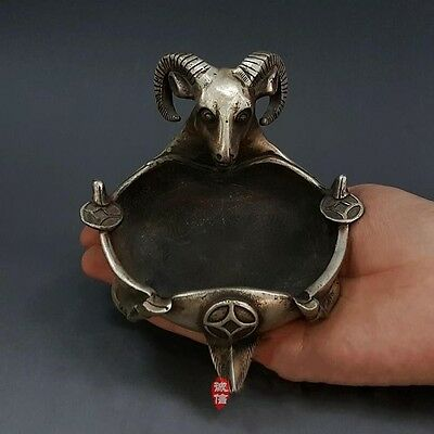 Famous Handwork Goat Old Dynasty Rare Pure Silver Vintage Statue Sheep Ashtray
