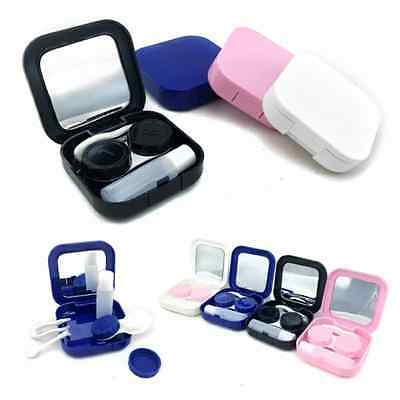 4 Colors Portable Travel Contact Lens Case Set Storage Box Container With Mirror