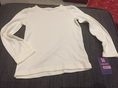 New Girls Solid White Long Sleeve Tee Shirt Size 5t