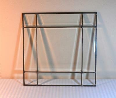 """9 Section Clear Beveled Leaded Glass Panel Window 16"""" Square"""