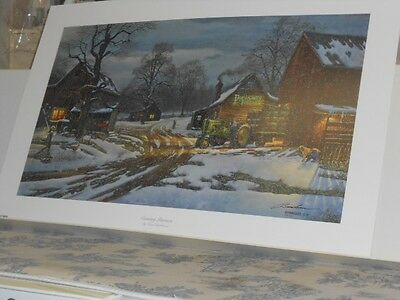 """""""Country Partners """" John Deere Tractor Print by David Barnhouse Lithograph"""