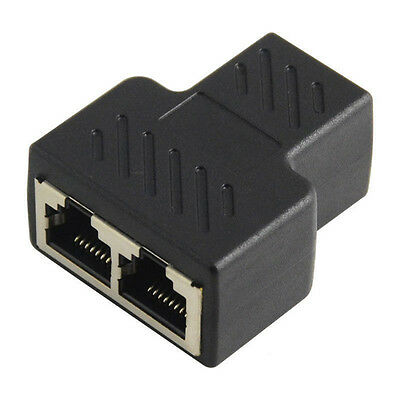 1to2 LAN ethernet Network Cable RJ45 Splitter Extender Plug Adapter   Connector