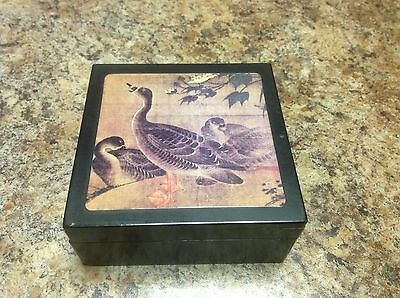 Vintage Geese Coasters Set Of Six With Wooden Hinged Box