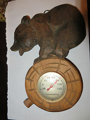 old vintage wooden wood bear on log thermometer Fahrenheit