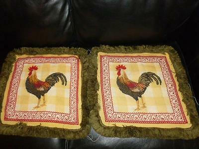 2 French Country Rooster Pillow Top & Fringe Finished Needlepoint 15""