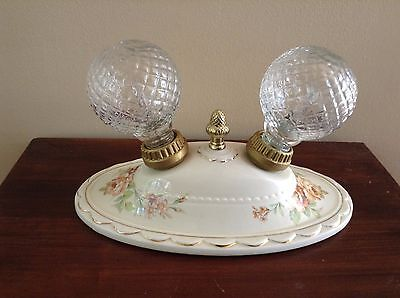VTG Porcelain 2-Bulb Ceiling or Wall Mount Light Fixture Cottage Rose Gold Trim