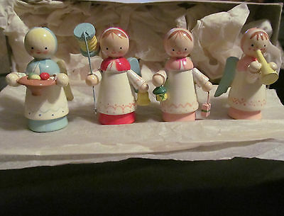 Four Sevi antique hand painted wooden angels in original box made in Italy