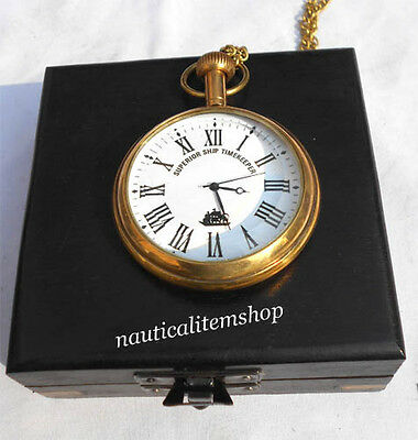 Nautical Pocket Watch Brass Polish Finish With Black Wooden Box Pocket Watch