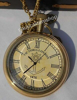 Antique Pocket Watch VICTORIA LONDON Polish Finish Nautical Brass Pocket Watch