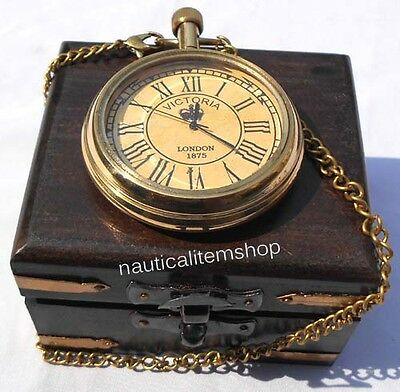 Brass Pocket Watch VICTORIA LONDON 1875 Polish Finish Antique Pocket Watch