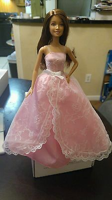 Hispanic Barbie wearing birthday wishes pink & white gown great for Quinceanera