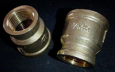 "BRASS BRONZE REDUCER COUPLING 3/4"" x 1/2"" NPT PIPE"
