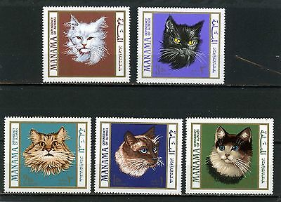 MANAMA 1968 Mi#107-111A FAUNA/CATS SET OF 5 STAMPS MNH