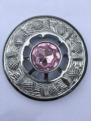 "Kilt Fly Plaid Brooch Chrome Finish Pink Stone 3""/Scottish Thistle Brooches"