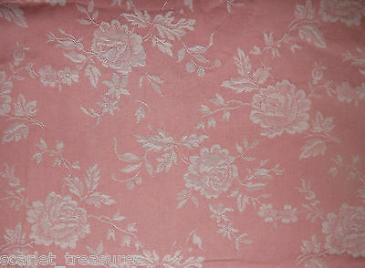 """VINTAGE FRENCH TICKING Floral FABRIC Peach ROSES Damask 160""""x64"""" 4yds+ #9"""