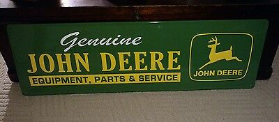 Vintage Painted Metal Embossed Genuine John Deere Dealer Sign / Advertising