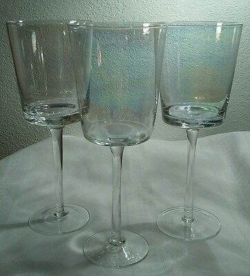 "Hand Blown Iridescent/Luster Large 9"" Square Style Wine Glasses Set Of 2"