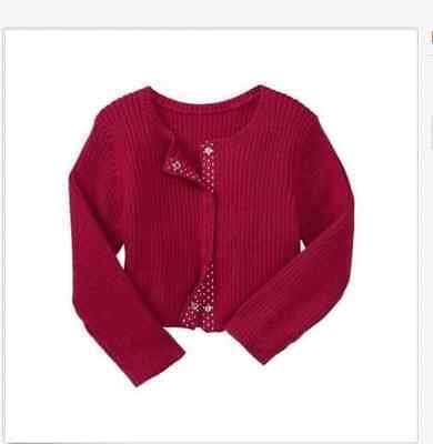 Nwt Baby Gap Girls Red Ribbed Cardigan Sweater Size 3-6 Months New Holiday