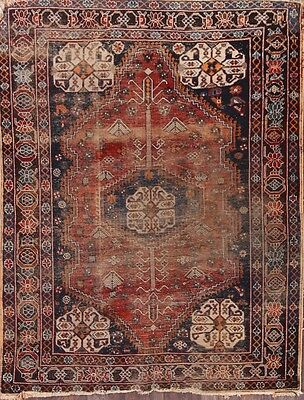 "Antique Tribal 5x7 Shiraz Persian Area Rug Oriental Wool Carpet 6' 9"" x 5' 2"""