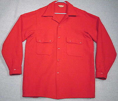 VTG Official Boy Scout Shirt Jacket Red Wool 44