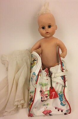 Vintage American Character Rooted Hair Doll 12 inch w/ Carrying Case