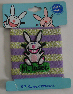 """It's Happy Bunny """"hi loser"""" Patch Funny Fabric Wristband Jim Benton New on Card"""
