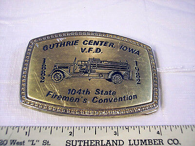 104th Iowa Firemen's Convention Belt Buckle GCFD