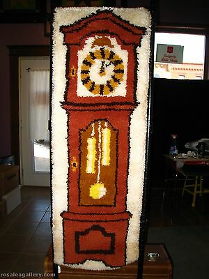 Vintage Latch Hook Rug Wall Hanging-Grandfather Clock-Dirty/Stained