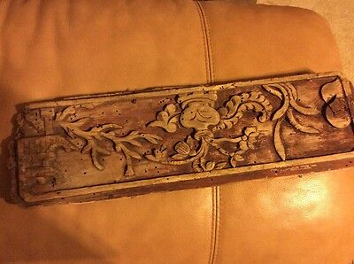 Antique Hand Carved Wooden Wall Panel Circa 15th - 16th