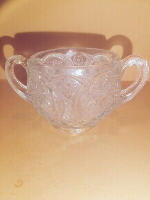 Vintage Imperial Glass Footed Sugar/ Bowl /Cup Hobstar Flower Nearcut Handles