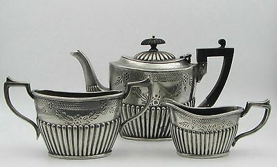 Antique 1880's Barnett Henry Abrahams B.H.A Silver Plate 3pc Small Tea Set AS-IS