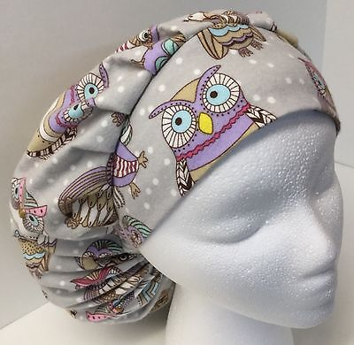 Flannel Owls on Gray Size: Large Medical Bouffant OR Scrub Cap Surgery Hat