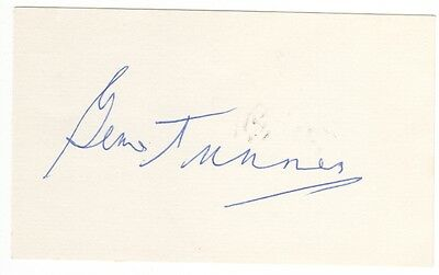 Gene Tunney Boxing Signed Index Card