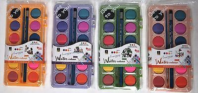 12 Colours Watercolour Paint Palette W/ Brush And Pencil - Art Craft Diy Fun Kid