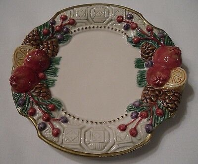 "Fitz & Floyd Home Fragrance Christmas Candle Plate Holder 5.5"" Pomegranate Pine"