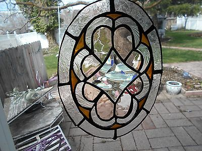 Gold + Pink Stained Glass Window  Panel  Suncatcher  Art
