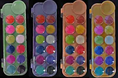 12 Colours Watercolour Paint Palette W/ Brush - Art Craft Diy Fun Kids School