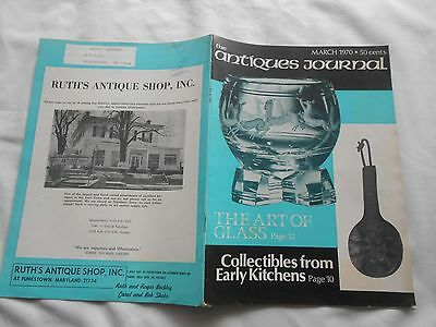 THE ANTIQUES JOURNAL-MARCH,1970-Magazine-COLLECTIBLES FROM EARLY KITCHENS