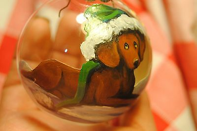 Original Painting~Vizsla~Dog~Christmas Ornament~Hand Painted~Candy~Whimsical