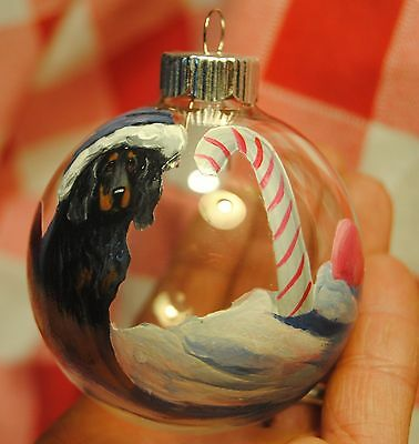 Original Painting~Gordon Setter~Dog~Christmas Ornament~Hand Painted~Candy Cane