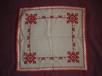 #506  Beautiful Vintage Hand Embroidered Tablecloth  36cm/34cm(14''/13'')
