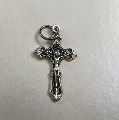 Small Silver Tone Filigree Catholic Rosary Charm Bracelet Cross Crucifix .