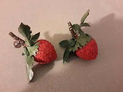 ANTIQUE Vintage Strawberry  Screw Back Earrings