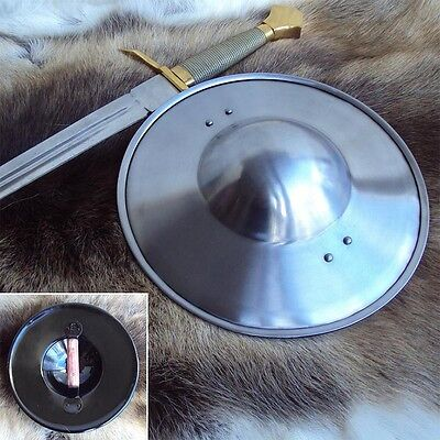 Hand Forged Medieval Knight Polished Steel Buckler Shield Ideal Re-enactment