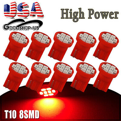 10X Red T10 Wedge 8SMD Dashboard Gauge LED Dome Map Light Bulb W5W 158 168 192