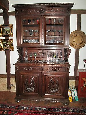 Antique display cabinet/dresser - early 1900's Gascon, hand carved, mahogany