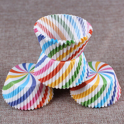 New100pcs Colorful Stripes Paper Chocolate Cup Cakecups Muffin Oven Baking Tools