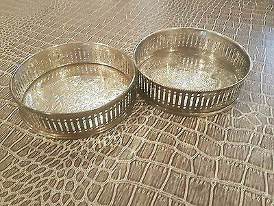 Antique Sheffield Pair of Silver Wine Coasters